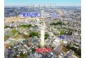 【その他】上空から見た販売現地全体と周辺(2021年6月撮影) スーパー・コンビニ徒歩圏内と生活しやすい環境。