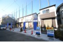 【外観】閑静な住宅地にたたずむ新築住宅全3棟!(販売現地全体)