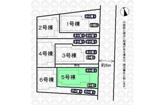 【区画図】ゆとりのある駐車スペースです。 車庫入れが苦手な方でも余裕を持って駐車できます。