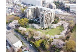【外観】上空からの販売現地 萩山駅徒歩4分と通勤・通学しやすい立地。