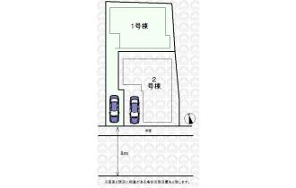 【区画図】全2棟1号棟/敷地面積97.69m2/南西8.5m公道