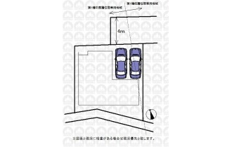 【区画図】土地面積101.74m2/カースペース並列2台可(車種による)