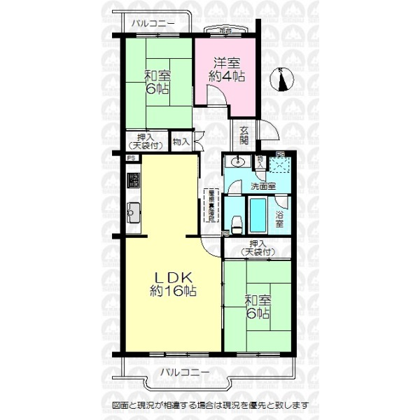 【間取】専有面積77.76m2 最上階住戸の為、勾配天井!