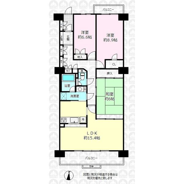 【間取】全居室6帖以上を確保した94.29m2の大型3LDK