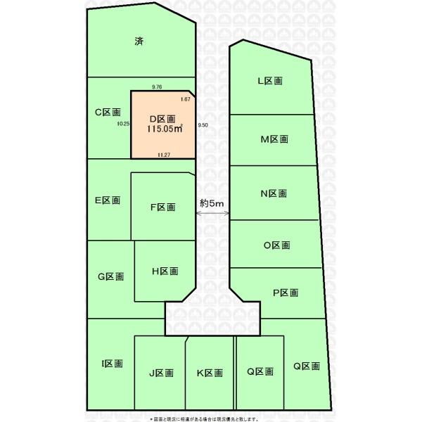 【区画図】全17区画の開発分譲地。南西・北東に路地状敷地(カースペース)があり日当たり良好です。