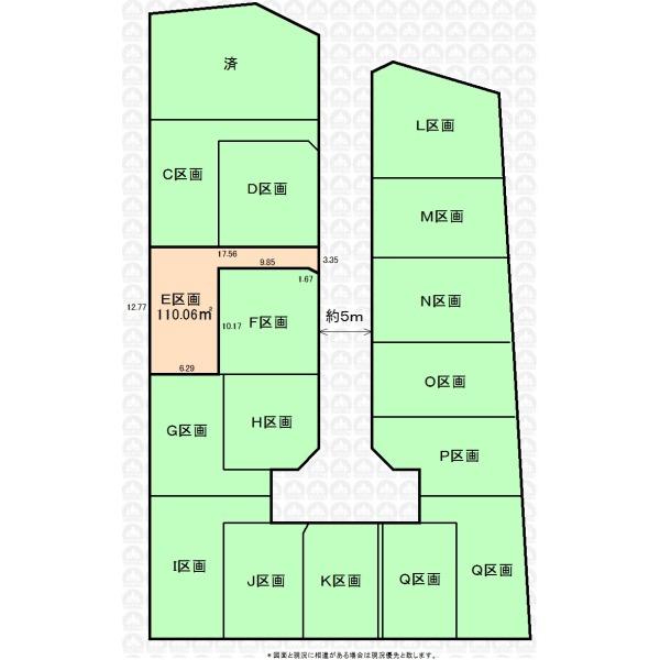 【区画図】全17区画の開発分譲地。建築条件はございません