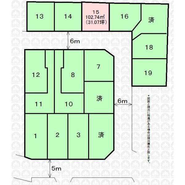 【区画図】南6m道路面/フリープランにて建築できます