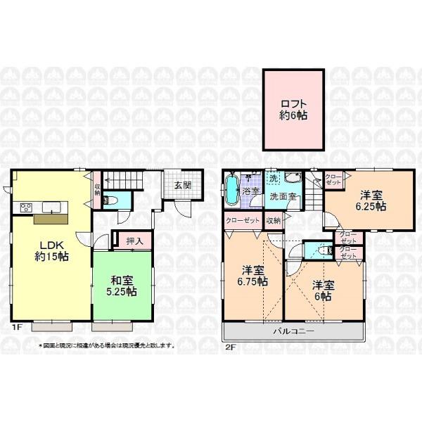 【間取】建物35坪超+ロフト6帖/全室東南向き