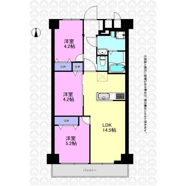 【間取】各居室収納スペース付きの3LDKプラン。