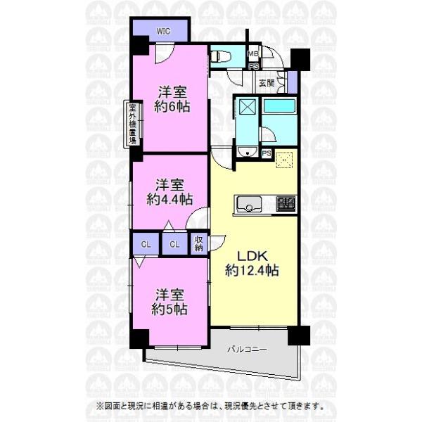 【間取】各居室には収納スペース付きの3LDKの間取です。