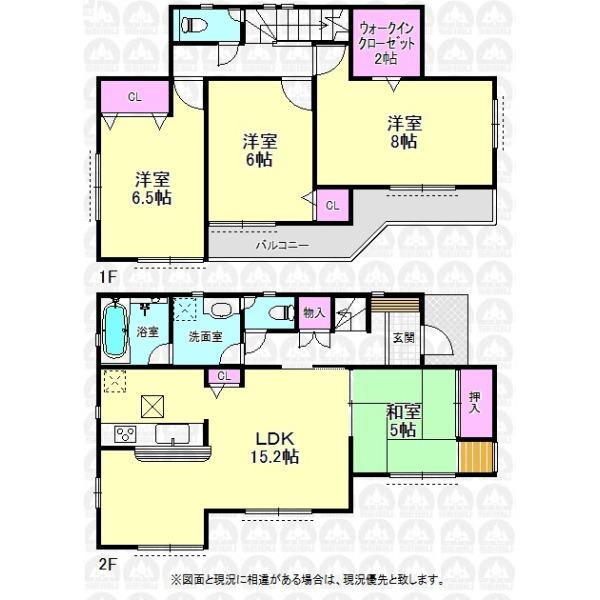 【間取】和室5帖の付いた4LDKのご住宅です