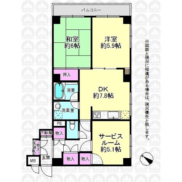 【間取】丁度良いお部屋の大きさ。玄関周りの収納豊富!