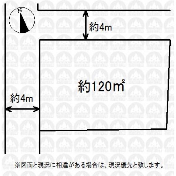 【区画図】北西角地の広々整形地!