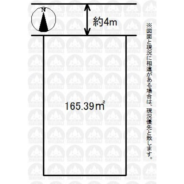 【区画図】土地面積が50坪ある広々整形地。