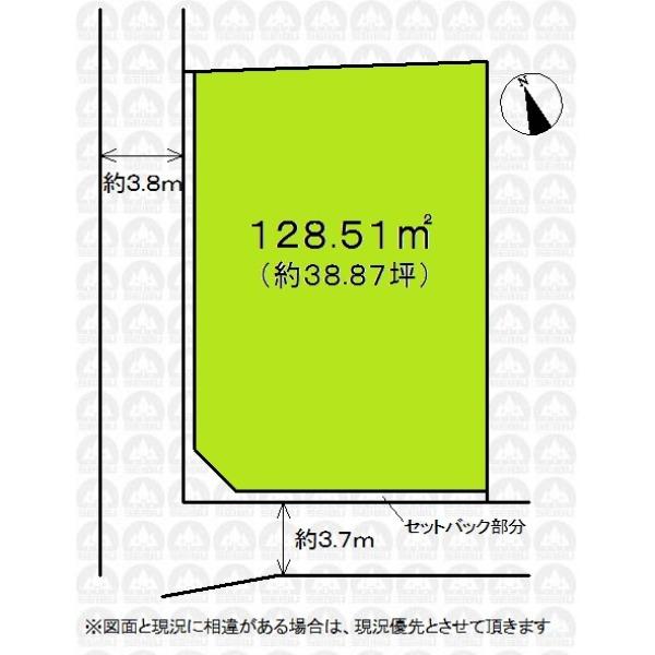 【区画図】敷地ゆとりの38.87坪!