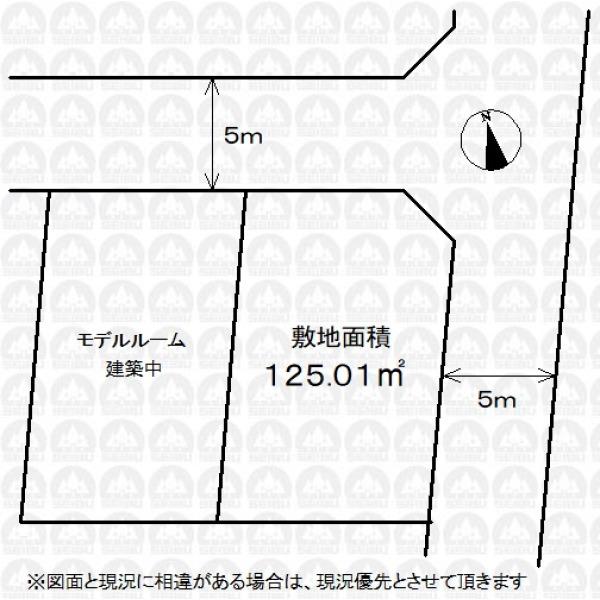 【区画図】実測図ではありません。/5m道路に面した開放感のある敷地です。角地の為お好みの建物プランが入りやすくなります。