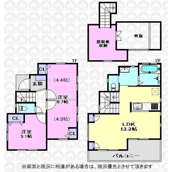 【間取】洋室8.7帖は将来家族の成長に合わせて二部屋に仕切ることが可能になっています。リビングには2か所の収納や屋根裏収納もあり収納豊富な間取りです。