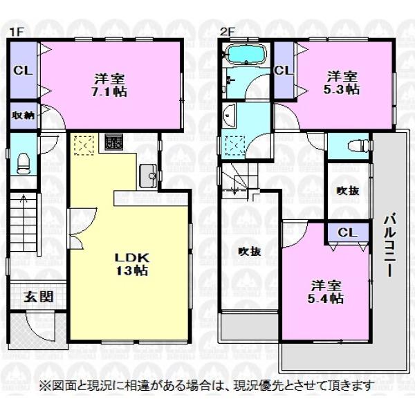 【間取】主寝室7.1帖と吹抜が建物をより広く感じさせる雰囲気となっています。