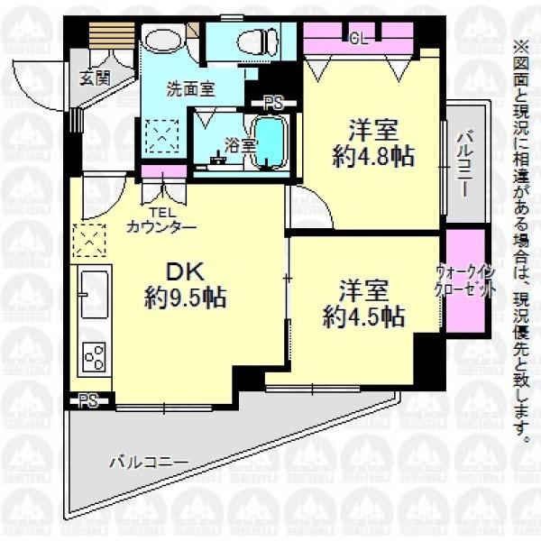 【間取】最上階の東南角部屋