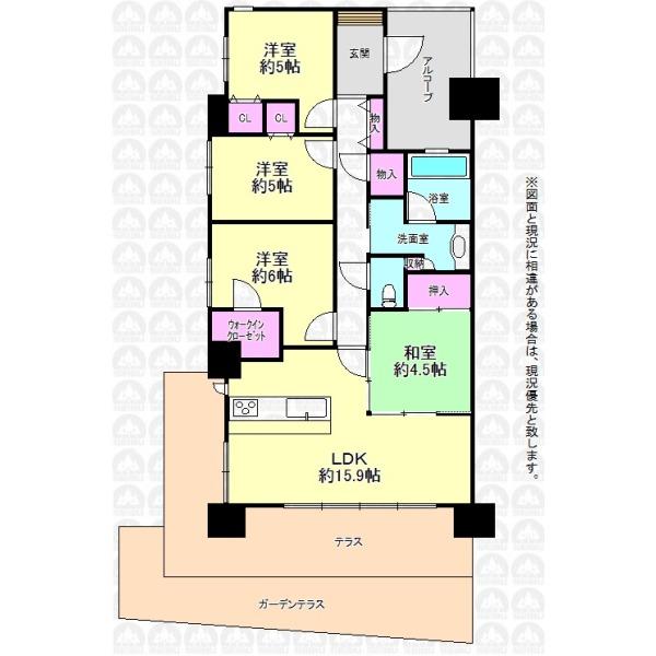 【間取】専用庭付きの1階部分住戸!角部屋のため開放感もあります。