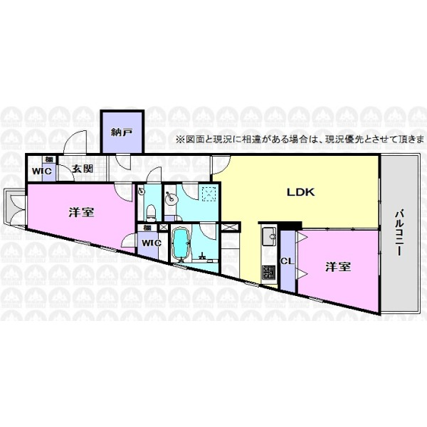 【間取】開放感のある三方角部屋/ペットと住めるリフォーム済み住戸が登場!納戸やWICがあり収納力豊富な間取