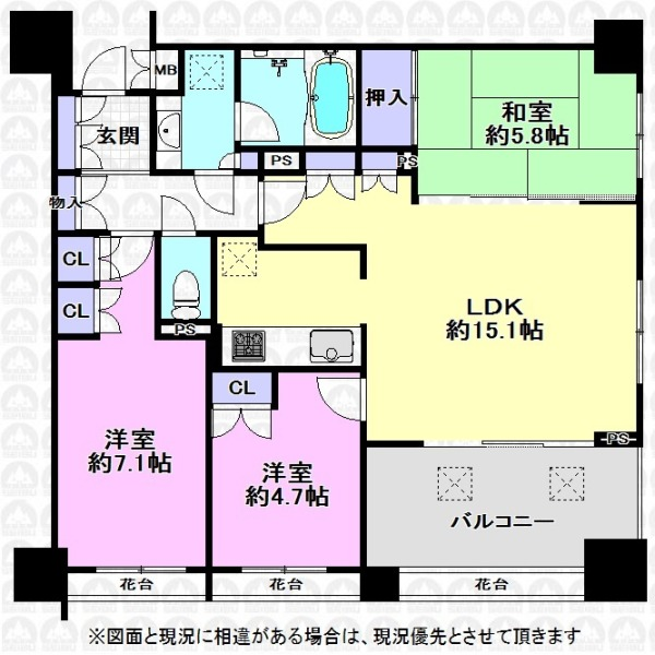 【間取】和室付3LDK!和室とLDK一体利用で広々とした空間に。