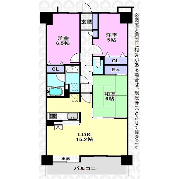 【間取】採光良好なLDKは15.2帖、一体利用可能なモダン和室も魅力的なご住宅です!