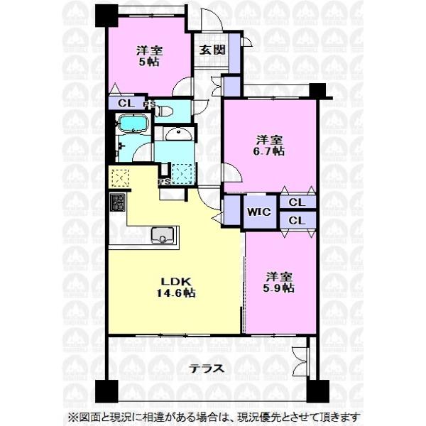 【間取】主寝室6.7帖洋室にはWICとクローゼットがありお部屋をすっきりと使えそうです。