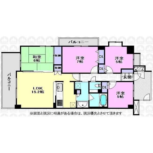【間取】主寝室が7帖の広さがある4LDK間取りです。各室には収納があり、さらにトランクルームも付いている収納豊富な住まいです。専用ポーチがあるので他人の目が気になりにくいです。