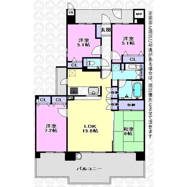 【間取】主寝室7.2帖、和室もついた4LDK。リビング収納や広々としたバルコニーなど使い勝手のいいご住宅です。