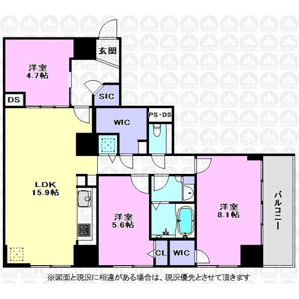 【間取】15.9帖のLDKと主寝室8.1帖の広さがある大きな3LDK間取りです。