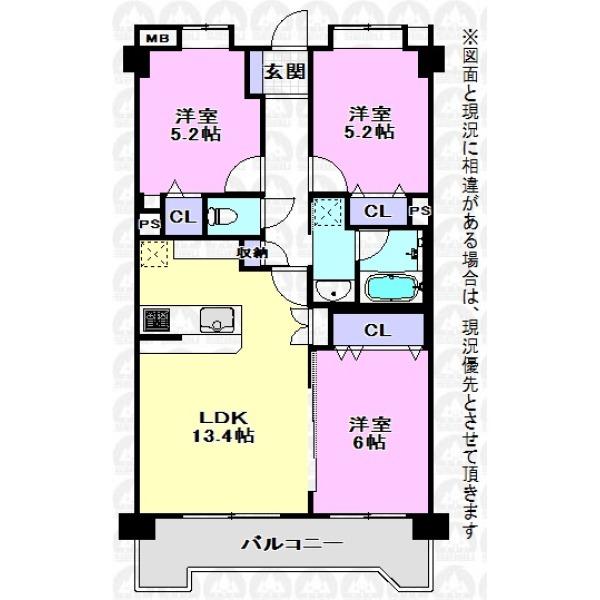 【間取】全て洋室の3LDK間取りですが、LDKと洋室6帖の戸を開放すれば、19.4帖のスペースとして使えます。シチュエーションに合わせた使い方が可能です。