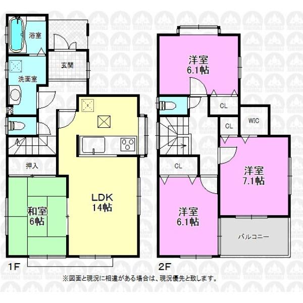 【間取】和室付き4LDK。リフォーム施工内容はクロス張替え、クッションフロア張替え、洗面台新品、トイレ新品、畳表替え、障子・襖張替え、室内クリーニングとなっております。