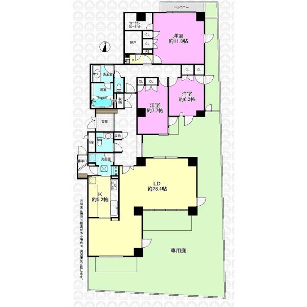 【間取】153.94m2の専有面積と83.03m2の専用庭、この広さは圧巻です。