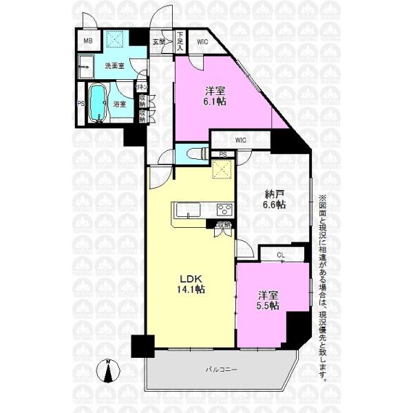 【間取】東南角部屋の明るい2SLDK! なんと平成22年築で4階南向き!! 陽当、眺望も良好です!!!
