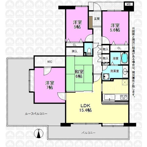 【間取】87.21m2の南西角部屋!魅力のルーフバルコニー付き4LDK!