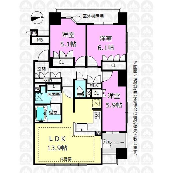 【間取】上階には住居がないためプライベート性の高いお住まいです。