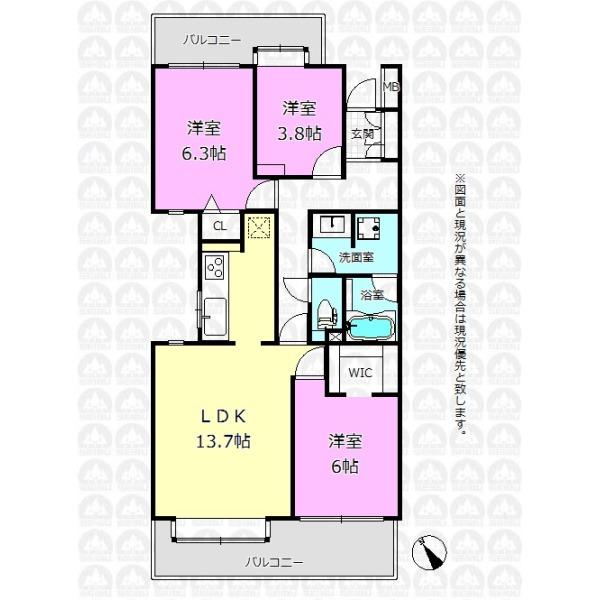 【間取】すべての居室がバルコニーに面した明るい3LDKプラン!
