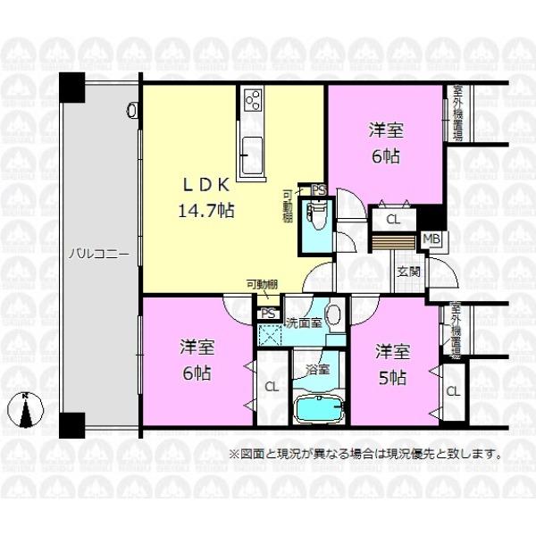 【間取】各居室に収納を備えた3LDK。