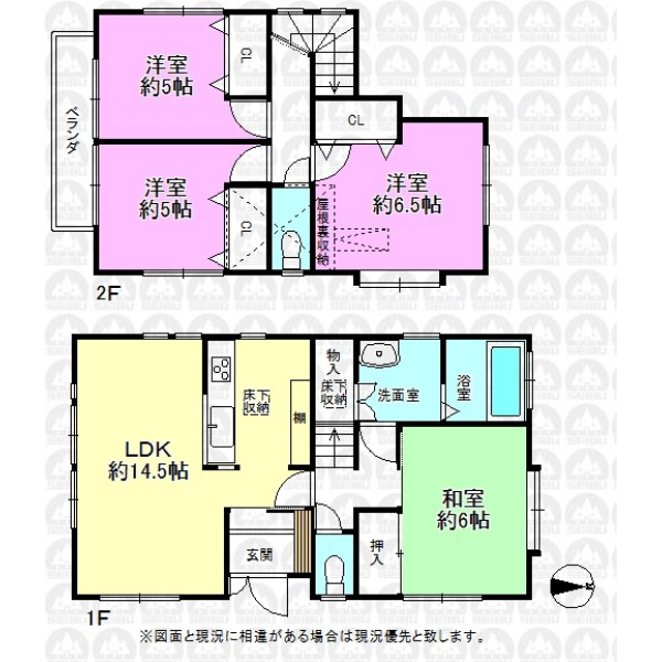 【間取】間取図:1階はLDKと和室が振り分けタイプ、プライバシーが守られます。