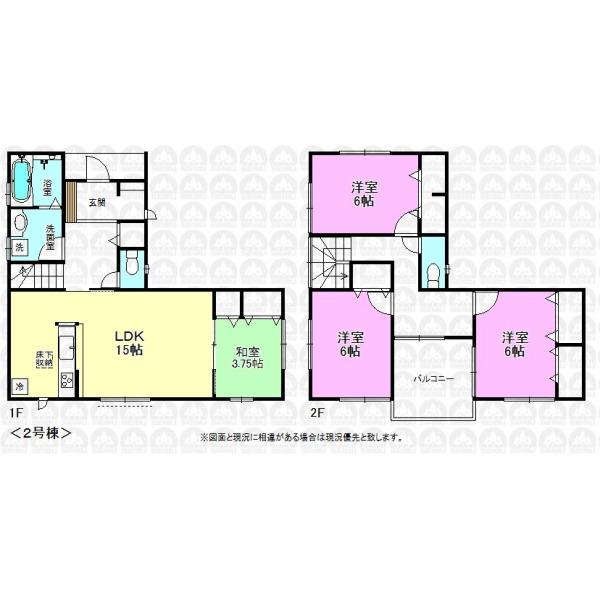 【間取】二階は全室6帖以上。ホールからバルコニーに出入りできるプラン。 延床面積:100.19m2