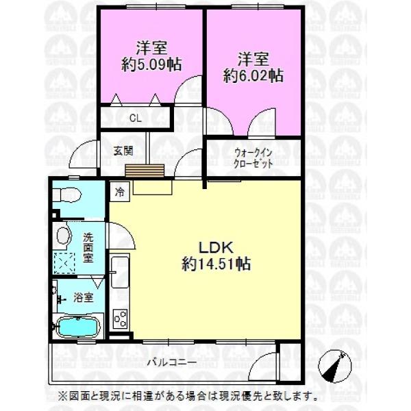 【間取】居室にはそれぞれクローゼットあり。