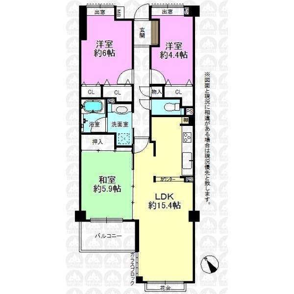 【間取】LDKは約15.4帖、続き和室と合わせれば約21.3帖の大空間となります!