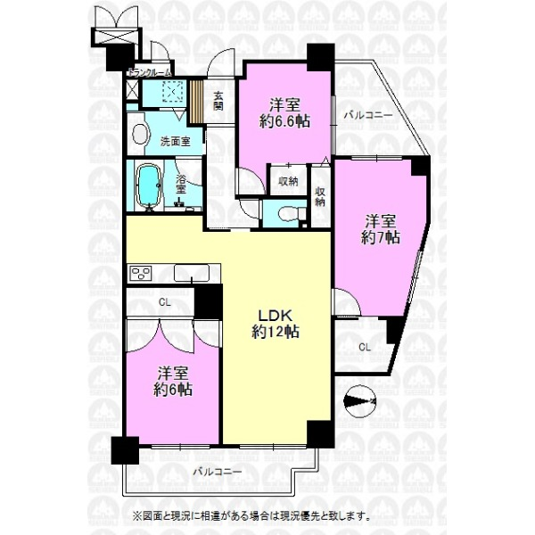 【間取】専有面積77.34m2/トランクルーム付き