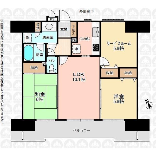 【間取】居室3部屋 和室あり 洗面室に収納付き