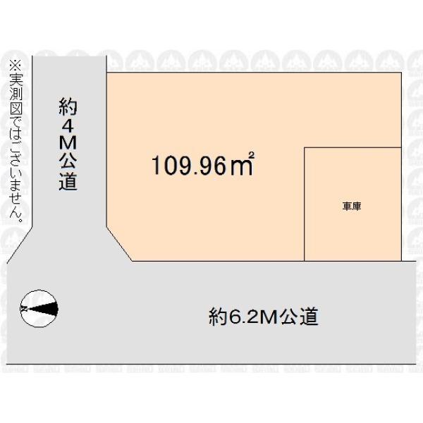 【区画図】33坪の敷地/角地につき開放感あり