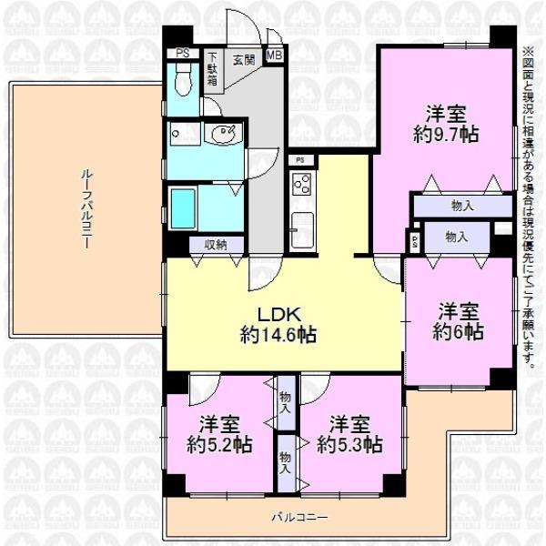 【間取】4LDK/三方角部屋